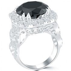 10.32 Carat Certified Black Diamond Engagement Ring Pave Halo 18k White Gold - Thumbnail 2