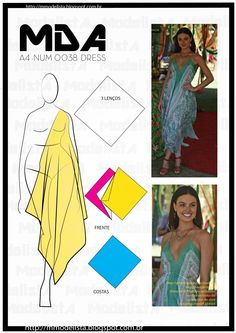Handkerchief circle/square Mod@ en Line@ Dress Tutorials, Sewing Tutorials, Sewing Projects, Tent Dress, Diy Dress, Diy Clothing, Sewing Clothes, Dress Sewing Patterns, Clothing Patterns