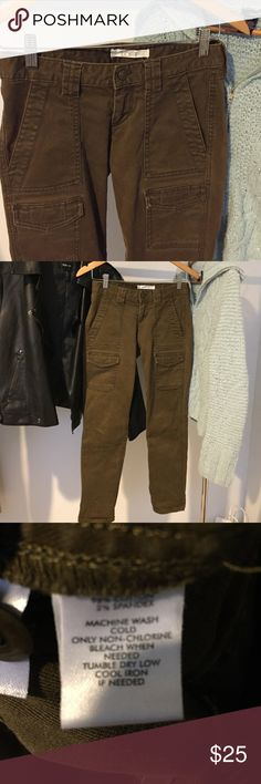 "Loft cargo pants The Loft skinny cargo pants. Thick fabric. 27"" inseam. Sweater and jacket in photos is available in my closet. Color is brownish/green. LOFT Pants Skinny"
