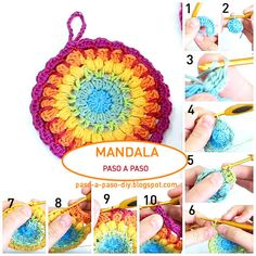 48 Ideas crochet mandala paso a paso for 2019 Crochet Diy, Crochet Quilt, Easy Crochet Patterns, Crochet Gifts, Crochet Motif, Crochet Doilies, Crochet Potholders, Knitted Dolls, Crochet Projects