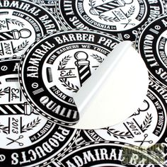 ADMIRAL BARBER PRODUCTS CUSTOM CIRCLE STICKERS VINYL STICKERS