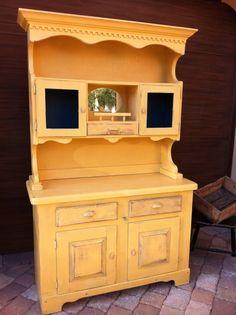 Cottage Chic Yellow Kitchen Hutch