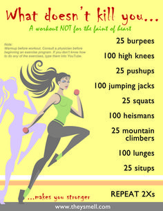 What Doesn't Kill You…Full Body Workout Routine What Doesn't Kill You. Extreme workout challenge that will challenge your fitness level and get you in shape fast! Extreme Workouts, Fun Workouts, At Home Workouts, Daily Workouts, Simple Workouts, Weight Workouts, Daily Exercise, Killer Workouts, Physical Exercise