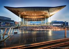 Rogers' Welsh Senedd roof defines a public space hewn from local materials. Seen here glistening in local rain.