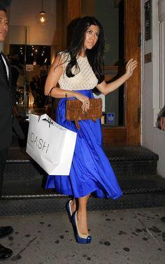Kourtney Kardashian wearing Proenza Schouler PS1 Pochette Christian Louboutin Mago Rachel Roy Swing Skirt Cartier Love Bracelet Proenza Schouler  Ps1 Classic Leather Pochette Clutch  Leaving the Dash Store in New York September 1 2011
