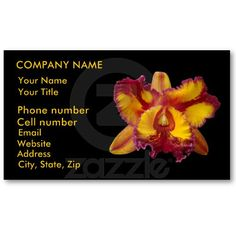 Yellow and Red Orchid Business Cards by birdersue from Zazzle - Digital photography and design by Sue Melvin
