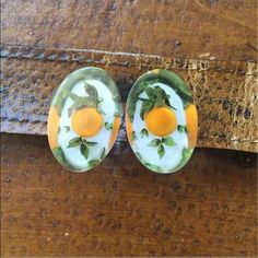 Vintage Screw Back Earrings circa 1950' Beautiful earring Limoncello (No these are not sunny side up with basil!)  Great condition and just stunning! Definitely a conversation starter anywhere!  Thank you for looking and please check out the rest of my closet. Vintage Jewelry Earrings