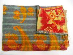 Vintage Kantha Quilt Old Sari Patchwork Bedspread Throw ralli Hand Quilt Throw Q #Handmade #AntiqueStyle