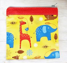 Kids pouch pencils case toilet bag yellow animals from poppyshome by DaWanda.com