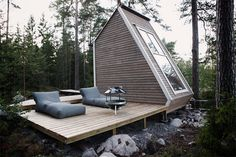 Nido Cabin by Robin Falck - Cabin tiny house in Sipoo, Finland made with recycled materials - Dwell Green Architecture, Architecture Design, Sustainable Architecture, Minimalist Architecture, Pavilion Architecture, Building Architecture, Architecture Student, Residential Architecture, Contemporary Architecture