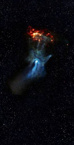 The 'Hand of God' Nebula - Cosmic Hand Reaches for the Light. The blue hand-like structure was created by energy emanating from the nebula around the dying star PSR B1509-58. (scheduled via http://www.tailwindapp.com?utm_source=pinterest&utm_medium=twpin&utm_content=post396155&utm_campaign=scheduler_attribution)
