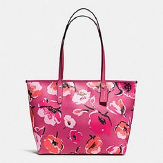 New Authentic Coach F37266 Wild Flower City Zip Tote Shoulder Bag in Dahlia  Pink. Get one ... 93e169abad625