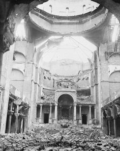 A Berlin synagogue lies in ruins following the Nazi-instigated Kristallnacht, a pogrom against Jews in Germany and Austria, which occured on night of 9 - 10 November 1938.