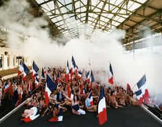 Spencer Tunick installation at Aurillac train station, Aurillac, France (2010)
