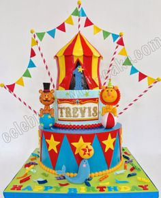 Celebrate with Cake!: Colorful Circus Carnival 3 tier