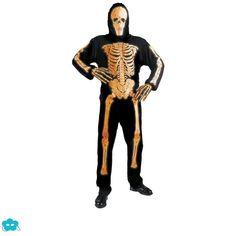 Disfraz de esqueleto neón talla grande para hombre
