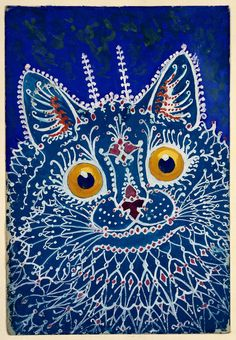 """A cat in """"gothic"""" style, United Kingdom, 1925-39, by Louis Wain."""