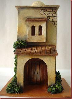 make it flat skinny - add lights - nifty nite light on a wall Christmas Nativity Scene, 1st Christmas, Christmas Crafts, Christmas Decorations, Holiday Decor, Clay Houses, Ceramic Houses, Miniature Houses, Christmas Grotto Ideas