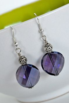 Purple Crystal Dangle Earrings by DebbieRenee on Etsy, $12.00