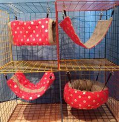 Ferret/Rat/Sugar Glider/guinea Pig Hammock Bedding Set - Pink Polka Dots Print!
