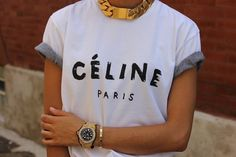 Cool casual: celine t shirt + chunky necklace