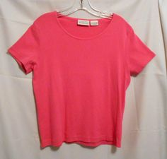 Basic Editions Hot Pink Top 100% Cotton Scoop Neck Short Sleeves Size M Cotton #BasicEditions #KnitTop #Career