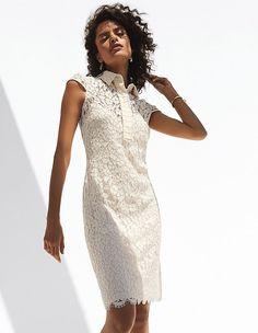 Beauty of this World Lace Making, Dress Making, Madeleine Fashion, Irina Shayk, Dress Outfits, Dresses, Dress Backs, Cap Sleeves, Cold Shoulder Dress