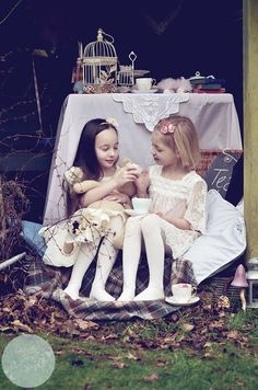 Danielle owen photography kids editorial photography fashion London. My rather wonderful daughters photo.  I supplied the vintage cakes, china, props and location.