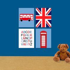 British Decor. Kids Bedroom Decor. Baby Room Wall Art. Nursery Art Decor. Kids Prints. Set of 4 8x10 Prints. UK Flag. Alphabet.