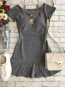 grey peplum hem dress accessorized + paired w/ sneakers | Skirt the Ceiling | skirttheceiling.com