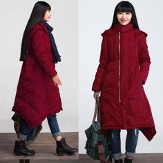 Winter hooded coat asymmetrical cotton padded coat outerwear parka -women clothing
