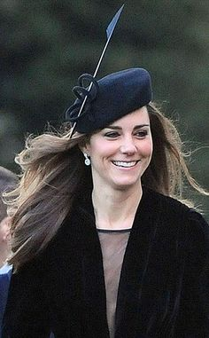 Kate Middleton sporting a black felt beret from Whiteley Fischer and a black velvet coat/dress by Libelulu at the wedding of Harry Aubrey-Fletcher and Sarah Louise Stourton in Aldborough, England on January (View Kate Middleton Hats, Princesse Kate Middleton, Middleton Family, Silly Hats, Fancy Hats, Duchess Kate, Duchess Of Cambridge, Fascinator Hats, Fascinators