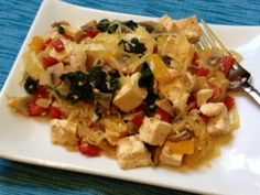Nutrition Babes - Think Healthy ... Not Skinny Garlic Tofu and Spaghetti Squash