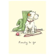 'Ready to go'. Illustration by Anita Jeram Animal Drawings, Cute Drawings, Wire Fox Terrier, Bull Terriers, Children's Book Illustration, Animal Illustrations, Dog Art, Cute Art, Illustrators