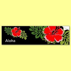 Red Hibiscus and Leaves Bumper Sticker by thehibiscus