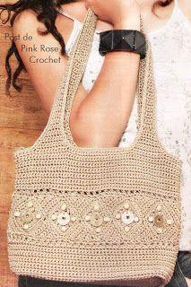 Receitas de Crochet: Bolsa rústica - Crochet bag with diagrams                                                                                                                                                                                 Mais