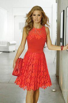 Linea Raffaelli orange/red dress 131-174-01 - Catherines of Partick