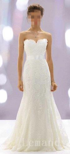modest strapless sweetheart mermaid lace wedding dress. $275.00, via Etsy.