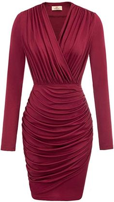 Enjoy exclusive for GRACE KARIN Women Retro Long Sleeve Ruched Wrap Party Pencil Dress online - Lookpoppretty Casual Party Dresses, Dressy Dresses, Unique Dresses, Dress Outfits, Fashion Dresses, Pencil Dress Outfit, 1950s Dresses, Wedding Dresses, Grace Karin