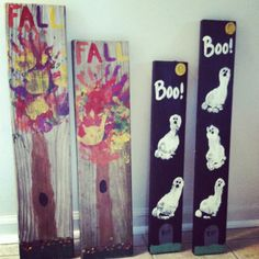 I love to make signs and I seen these ideas on Pinterest and made them on signs using my daughter's hands and feet prints. Super easy; just paint and a piece of barnwood!! DYI Autumn/Halloween decor.