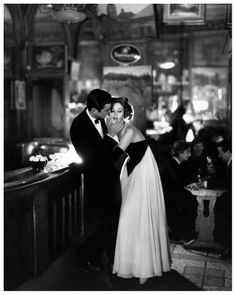 Suzy Parker in a Lanvin-Castillo evening dress with actor Gardner McKay at the Cafè des Beaux-Arts, Paris, 1956. Photo by Richard Avedon. via vampdreaminginhollywood