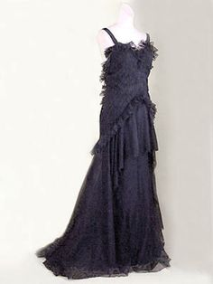 "The master of cutting!Lucien Lelong silk tulle evening gown with original silk slip, c.1930. Label: ""Lucien Lelong/16/Avenue Matignon-Paris."""
