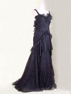 "The master of cutting!Lucien Lelong silk tulle evening gown with original silk slip, c.1930. Label: ""Lucien Lelong/16/Avenue Matignon-Paris."""
