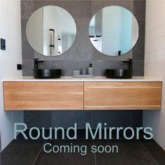 Round pencil edge mirrors are now available at Highgrove Bathrooms Interior Paint Colors, Dream Bathrooms, Round Mirrors, Bathroom Cabinets, Modern Design, Bathroom Ideas, Pencil, Budget, Popular