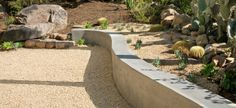 Curved retaining wall with desert plants - cacti and succulents