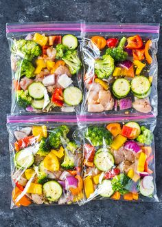 Chicken and veggies marinated with olive oil, herbs, and spices and packed in zipper bags. These easy to pack bags make it super easy to cook lunch or dinner in minutes and last up to 6 months in t…