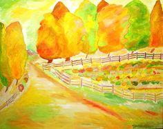 landscape, impressionist, art, painting, decorative