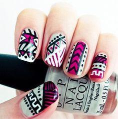cool tribal print nails !