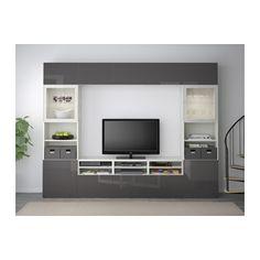 BESTÅ TV storage combination/glass doors - white/Selsviken high-gloss/gray clear glass, drawer runner, soft-closing - IKEA