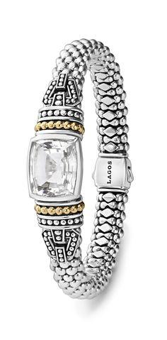 Caviar beaded bracelet with white topaz.